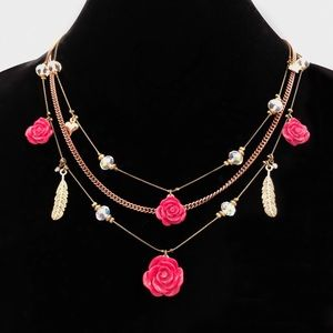 Betsey Johnson Lady Luck Rose and Feather Necklace